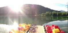 Tretbootfahren am Badesee Ried