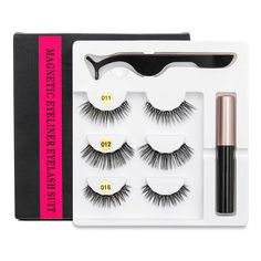5 Magnet Eyelash Magnetic Liquid Eyeliner& Magnetic False Eyelashes & Tweezer Set Waterproof Long Lasting Eyelash Extension-in False Eyelashes from Beauty & Health on Aliexpress.com | Alibaba Group Gold Eye Mask, Gold Eyes, Natural Eyelashes, Fake Eyelashes, Eyelash Curler, Eyelash Extensions, Eyeliner Embroidery, Eyelash Sets, Magnetic Lashes