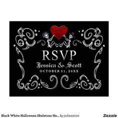 Black White Halloween Skeletons Heart Wedding RSVP
