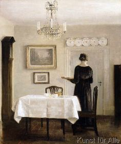 Carl Holsoe - Interior with Lady Carrying Tray,c.1905