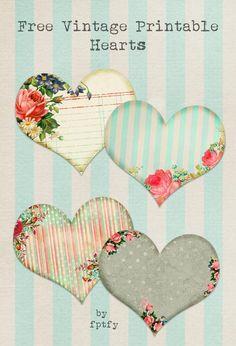 Free Vintage Graphics - Printable Hearts