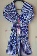 Off Shoulder Stretch Blue/White Floral Summer Tunic Tea Dress Maternity Wear 20