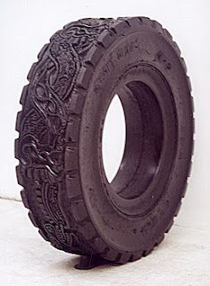 The design llama: Betsabee Romero Tire art and prints Reuse Old Tires, Reuse Recycle, Upcycle, Recycled Tires, Recycled Garden Art, Recycled Crafts, Tire Art, Tire Swings, Tire Chairs