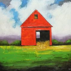 Landscape painting 213 30x30 inch red barn original oil by RozArt, $365.00