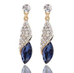 Luxury Fashion Full Crystal Drop Earrings for Women Heart of the Ocean Gold Dangle Earrings Boucle d'oreille Femme Pendante