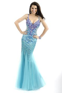Party Time Evening Gown. Spaghetti Strap Fully Beaded Soft Tulle Fabric in Crystal Embellishment Mermaid Gown With Fully Beaded Back Straps - 6027