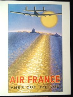 POSTER ART Early Commercial Aviation AIR FRANCE to South America