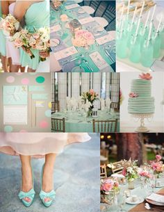 Pink Cupcake Weddings--mint color inspiration board; mint wedding; mint and gold; mint and pink