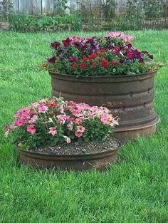 old car tire upcycled into flower planters