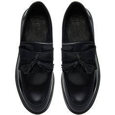 Dr Martens Adrian Black Flat Shoes (505 BRL) ❤ liked on Polyvore featuring shoes, flats, black flats, flat heel shoes, flat shoes, black tassel shoes and dr martens shoes