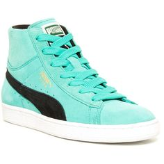 PUMA Mid Classic Sneaker ($40) ❤ liked on Polyvore featuring shoes, sneakers, pool gn, synthetic shoes, lace up sneakers, lace up shoes, laced up shoes and lacing sneakers