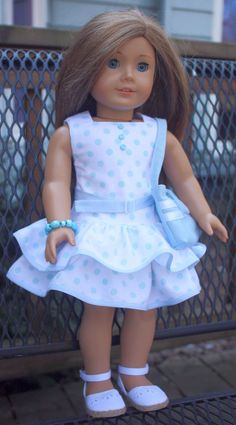 American Girl Doll Clothes-Blue and White Polka Dot Party Dress with Purse and Bracelet