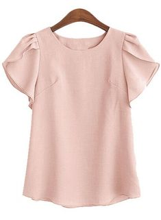 Charming Petal Sleeve Round Collar Loose Solid Color Blouse For Women