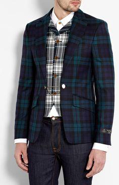 Tartan Wool Attached Waistcoat Blazer - Lyst