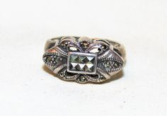 Estate Vintage Retro 925 Sterling Ring with Marcasite Sz 7.5, 6.3 g #Unbranded #Band