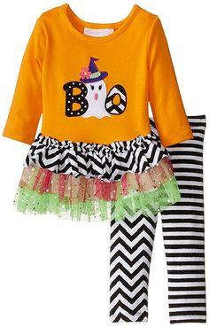 Bonnie Jean Girls Halloween Orange Ghost BOO Legging Set, Orange, 4. 95% Cotton/5% Spandex and Machine washable. Ghost boo applique. Glitter mesh tutu skirt. Chevron knit top skirt. Perfect for Fall and Halloween!.