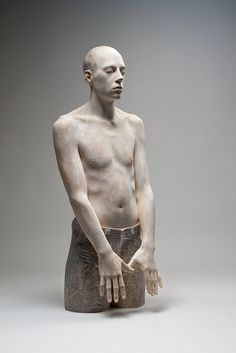 Bruno Walpoth uses simple carving tools to turn pieces of wood (lime and walnut) into human sculptures with detailed features that seen from afar look incredibly life-like