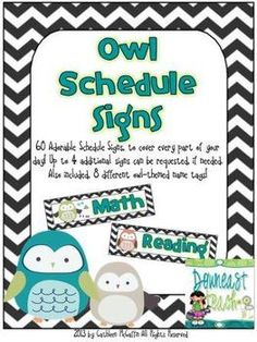 Owl Schedule Signs...I will customize up to an additional 4 signs!