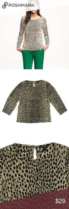 """JCREW Animal Print Scoop Neck Blouse Size - S  This beige and black animal print blouse from JCREW is in excellent condition. It features a pullover style and 3/4 length sleeves. Button closure behind neckline.  Measures:  Bust 36"""" Total Length: 23"""" Sleeves: 18"""" J. Crew Tops Blouses"""