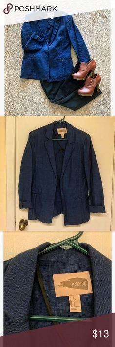 F21 - Casual Blazer Casual Blazer with shoulder pads (52% linen, 48% cotton) by Forever 21. Perfect for business casual occasions or a night out. I'm a nurse so I only wear scrubs now! 🤗 Worn just a handful of times - great condition! Make an offer! Forever 21 Jackets & Coats Blazers