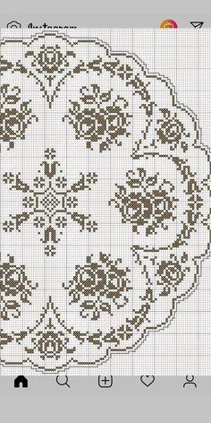Crochet Doily Diagram, Filet Crochet Charts, Crochet Doily Patterns, Crochet Doilies, Embroidery Patterns, Knit Crochet, Cross Stitch Rose, Cross Stitch Flowers, Cross Stitch Embroidery