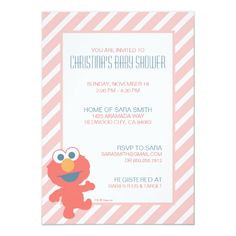 Shop Elmo Baby Shower Invite created by SesameStreet. Personalize it with photos & text or purchase as is! Sesame Street Birthday Invitations, Custom Birthday Invitations, Baby Shower Invitations, Elmo Invitations, Invites, Baby Birthday Card, 1st Birthday Parties, Happy Birthday, Disney Birthday