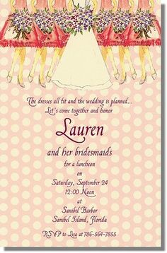 Pink Shower Bridesmaid Luncheon Invitations - Love the pink and lilac colors together! $2.34 http://www.creationsbyleslie.com/bridal/bridesmaid-luncheon-invitations/pink-shower-bridesmaid-luncheon-invitations/