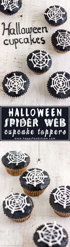 How to Make Halloween Spider Web Cupcake Toppers. Super Easy Cupcake Decorating Tutorial. They are made with royal icing and you need only simple tools! No template needed! | happyfoodstube.com
