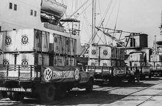 Início das exportações da Volkswagen do Brasil - Santos década de 70.