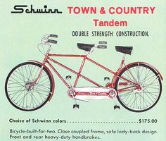Love the red!!! 1960s Schwinn ad for tandem bike GiveLoveCycle - Our Blog | GiveLoveCycle