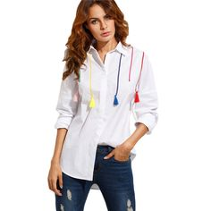 White Casual Shirt Colorful Tassel