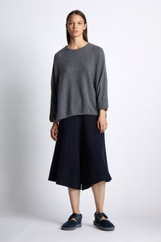 Our cashmere reversible jacquard low crotch skirt trousers, dune on one side and ivory on the reverse. Versatile and flattering for all body shapes. Reversible Skirt, Cashmere Throw, Knitted Throws, Body Shapes, Shades Of Blue, Light In The Dark, Camel, Trousers, Normcore