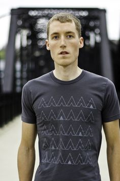 Camp T-Shirt, Charcoal Grey Men's Tshirt, Screenprinted Camping Tents, Geometric Design, Gray