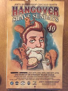 2015 promo for Hangover Shave Sundays at Joe's Barber Shop, 2641 W Fullerton Avenue, Logan Square, Chicago, Illinois ... Established in 1968.