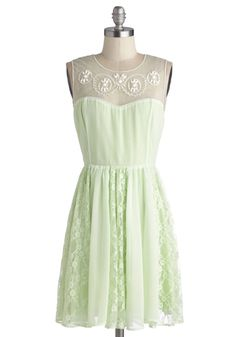 I love the detail in this delicate dress! Such a perfect color for the details!  Honeydew Unto Others Dress, #ModCloth