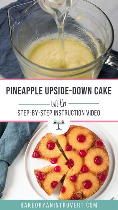 A Pineapple Upside-Down Cake Recipe with deep pineapple flavor. The cake is buttery and tender and the sticky, sweet topping is adorned with pineapple and cherries. This easy, classic cake is always a favorite! Easy Cake Recipes, Baking Recipes, Sweet Recipes, Köstliche Desserts, Delicious Desserts, Classic Cake, No Bake Cake, Easy Bake Cake, Yummy Cakes