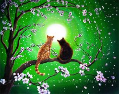 Cats on a Spring Night Original Painting