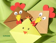 gurigami: Easter Classics little bookworms Easy Paper Crafts, Diy Arts And Crafts, Fun Crafts, Bookmarks Kids, Corner Bookmarks, Origami Paper Folding, Chicken Crafts, Origami Bookmark, Valentine's Cards For Kids