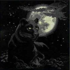 Cross stitch kit featuring a panther in the moonlight. This cross stitch kit includes 14 count Aida Zweigart fabric, Anchor Black Panthers, Black Panther Cat, Animals Beautiful, Cute Animals, Gato Grande, Inka, Cross Stitch Animals, Counted Cross Stitch Kits, My Spirit Animal