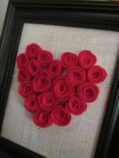 Framed Heart on Burlap