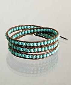 turquoise beaded leather wrap bracelet