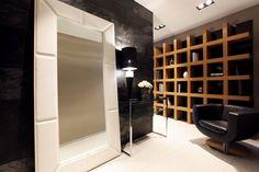 Apartment interior by Geometrix Design. love the shelf!