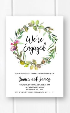 Engagement invitation printable, garden engagement party ideas, rustic engagement invites from Pink Summer Designs on Etsy
