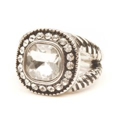 square crystal ring, $18