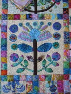 Cat Quilt Patterns, Applique Patterns, Applique Quilts, Flower Applique, Quilting Projects, Quilting Designs, Fiber Art Quilts, Flower Quilts, Tree Quilt