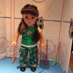 Dallas STARS! 18 inch Doll Clothes ,Handmade ,Fits all 18 inch Dolls, 2 Pc Outfit. Color: Green and White by BlueCowDesigns on Etsy