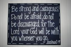 Be Strong and Courageous Navy Blue Nursery Bible by TheMerryMarket, $46.99