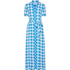 Draper James Gingham crepe de chine maxi dress ($425) ❤ liked on Polyvore featuring dresses, maxi dress, gingham dress, patterned maxi dress, american dress, lightweight dresses and light weight dresses
