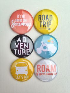 Set of 6 Road Trip Craft Badges Pins Flair by PandaEightDesigns, $4.99