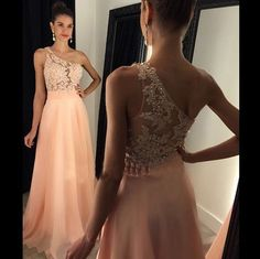 Charming Floor Length Prom Dress - Pink One Shoulder A-Line with Appliques
